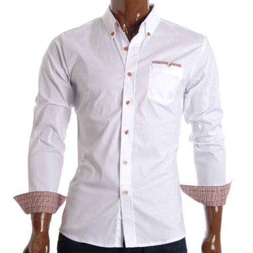 FLATSEVEN Mens Slim Fit Checker Pocket Casual Dress Shirts (SH131) White, L