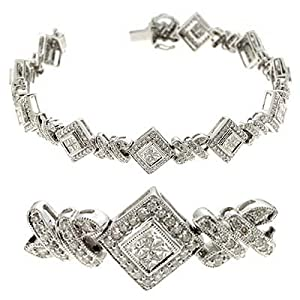 14k White 3.22 Ct Diamond Bracelet - JewelryWeb