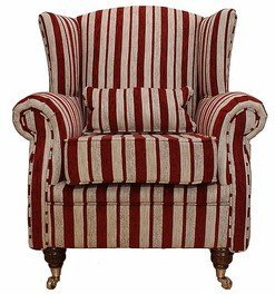 Wing Chair Fireside High Back Armchair Ruby Stripe