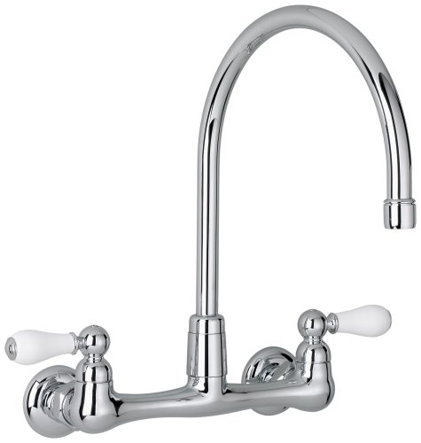 American Standard 7293.252.002 Heritage Wall-Mount Gooseneck Kitchen Faucet with Porcelain Lever Handles, Chrome