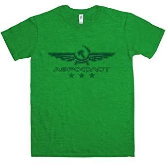 Mens Aeroflot T Shirt - Antique Kelly Green - Small