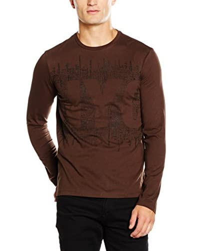 Desigual Camiseta Manga Larga Jaime Rep Marrón