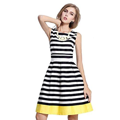 Zeagoo Women's Summer Sleeveless Knee Length Striped A Line Dress