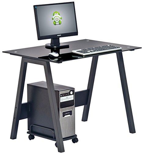 Piranha Trading Pc7bg Barbel Compact Toughened Black Glass Computer Desk Home Office Furniture