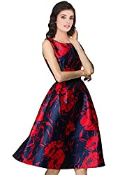 Fabboom Designer Blue & Red Colour Semi Stitched Taffeta Silk Western Wear