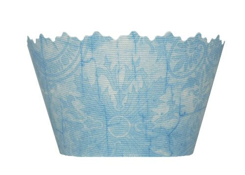 Ocean Blue Antique Floral Emblem Cupcake Wrapper - Set of 12 - Winter Designer Flower Cup Cake Holder