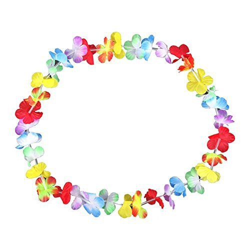 S/O, lotto di 100 collane a fiori colorati, collana Hawaii (0278)