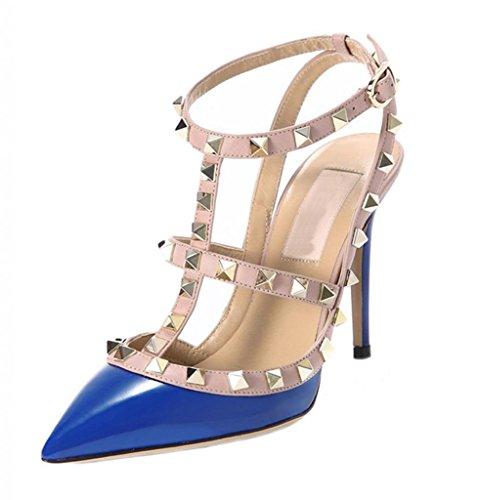 Littleboutique Metallic Strappy Sandal Pointed Toe Leather High Heel Celerity Dress Slingback Sandals Rivet Studded Stiletto Shoes Blue 8