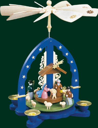 Blue Christmas Pyramid Nativity Scene, 10.8 Inches