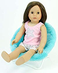 18 Inch Doll Furniture, Fuzzy Aqua Papasan Chair Perfect For Your 18 Inch American Girl Doll Clothes & More! Doll Aqua Papasan Chair