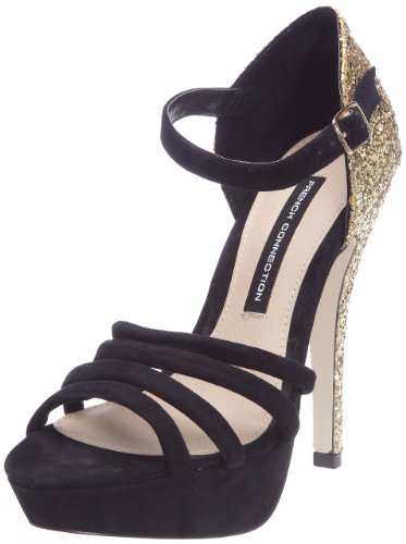 French Connection Women's Bailey Sfak6 Black Ankle Strap Heel 2346100209 7 Uk