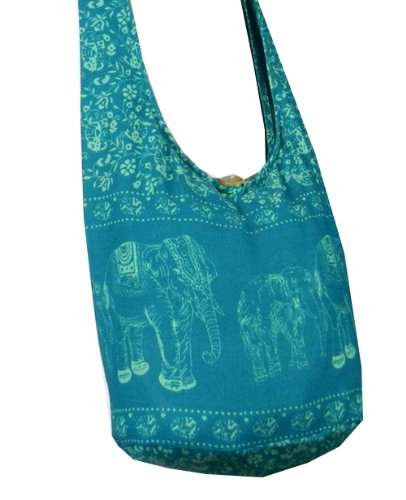 Btp! Elephant Sling Crossbody Shoulder Bag Purse Hippie Hobo Thai Cotton Gypsy Bohemian Teal Small Me12 front-1079772