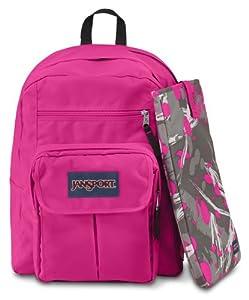 """JanSport Digital Student Backpack - Fluorescent Pink Super Splash / 17.5""""H x 13""""W x 10""""D"""