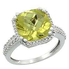 buy 14K White Gold Natural Lemon Quartz Ring Cushion-Cut 11X11Mm Diamond Halo, Size 10