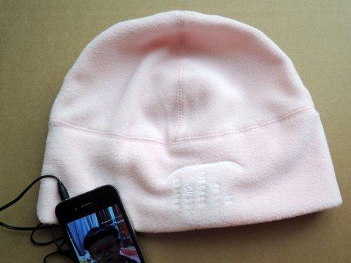 Winter Beanie Cap Hat With Headphone Earphone 3.5Mm Pink