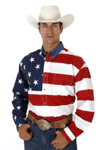 Mens Long Sleeve Roper Stars & Stripes Pieced American Flag Patriotic _ M _ red