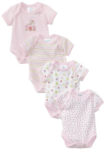 SpaSilk Baby-girls Newborn 4 Pack Flower Bodysuit, Pink, Preemie