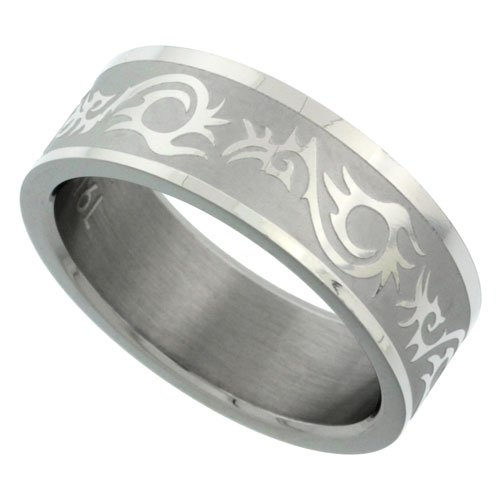 Surgical Steel 8Mm Tribal Pattern Ring Wedding Band Matte Finish, Size 9