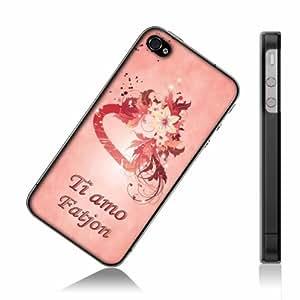 """""""Ti Amo"""" progettato per Fatjon, Rosa Custodia rigida con bordi trasparenti per iPhone 4S."""