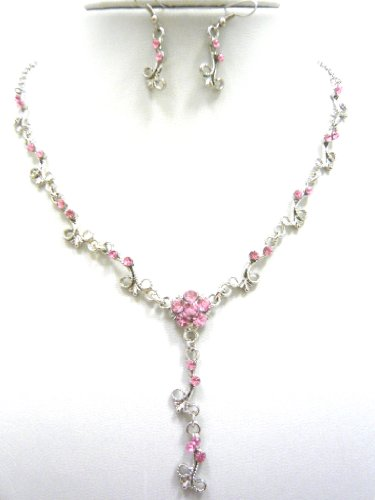 Jay Jewellery - Pink acrylic crystal flower silver tone necklace with earrings