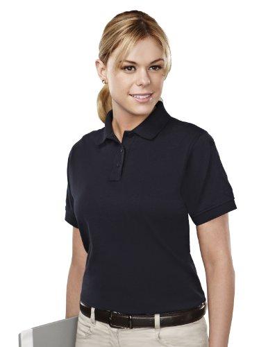 Tri-Mountain Womens Cotton/Poly 60/40 Knit Polo Shirt, W/ Mic Loops & Pen Pocket 011 - Black_L front-1051150