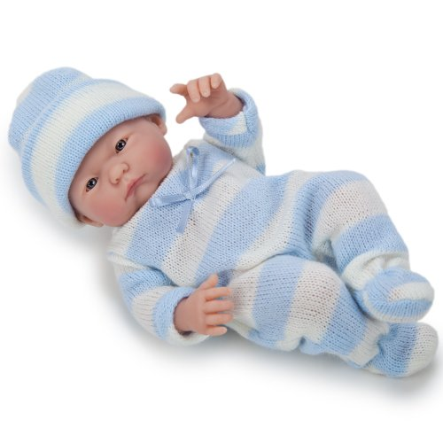 "Mini La Newborn Boutique - Realistic 9.5"" Anatomically Correct Real Boy Baby Doll dressed in BLUE - All Vinyl Pouty Mouth Designed by Berenguer - Made in Spain"