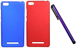 FCS Rubberised Hard Back Case For Xiaomi Mi 4c in Matte Finish Combo Of Two With Capacitive Touch Screen Stylus.