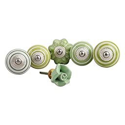 Set of 6 Handmade Cabinet Pull IndianShelf Green Handles Ceramic Stripe Knobs Silver Finish