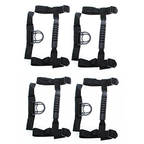 KAFEEK® Roll Bar Grab Handle For Jeep Wrangler JK Sport X Sahara Unlimited Rubicon 1990-2015 (Pack of 4)