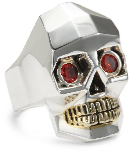 HAN CHOLO Silver Crystal Skull Ring, Size 7