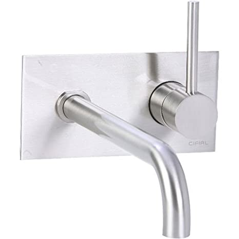 Cifial 225.152.620 Techno 25 Single Handle Wall-Mounted Bathroom Faucet, Satin Nickel