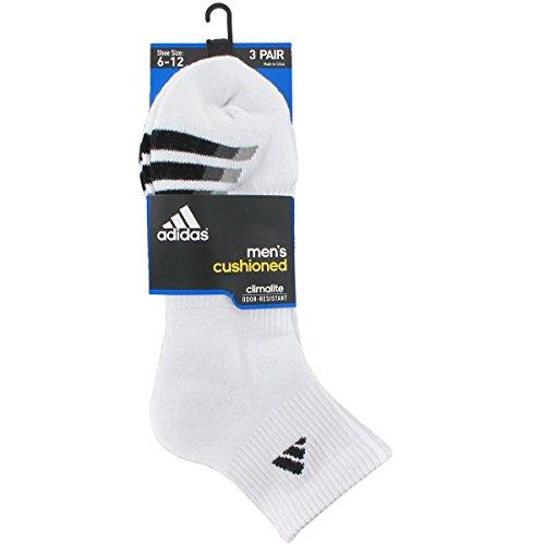 Adidas Men's Cushion Quarter Socks (Pack of 3), White/Black/Granite/Light Onix, One Size