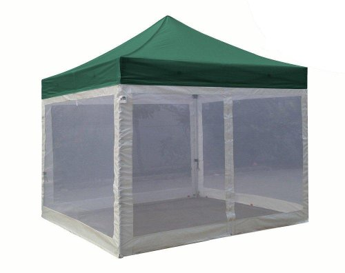 Pro 10X10 Pop Up Canopy Party Tent Instant Garden Gazebo With 4 Mesh Screen Walls & Bonus Roller Bag And Awning (Forest Green) front-893319