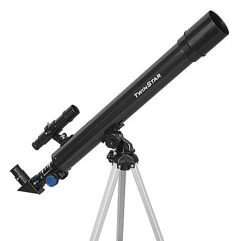 Black TwinStar AstroMark 50mm 75x Refractor Telescope Kids Pak Bundle