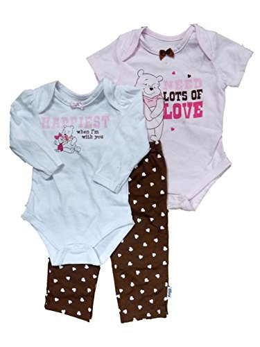 Disney Infant Girls Winnie The Pooh Pink & Brown Pooh Bear 3 Piece Set Outfit