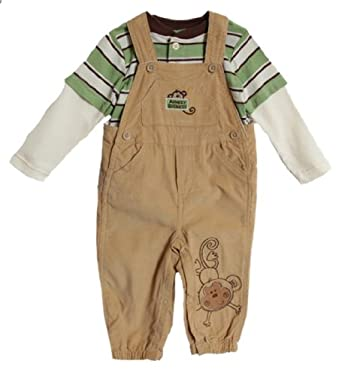 BT Kids Newborn Baby Boys 2 Piece Green Striped Shirt Corduroy Overalls Set