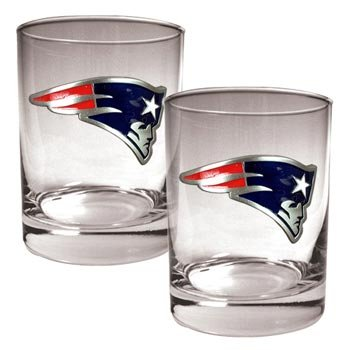 NFL New England Patriots Two Piece Rocks Glass Set - Primary Logo