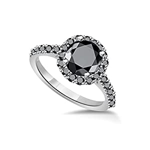 1.00 ct tw Black Round Diamond Cathedral Style Halo Engagement Ring 14K White Gold