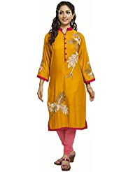 Riwaaz Clothing Yellow And Gold Kurta With Embroidered Detail WomenÕs Kurti