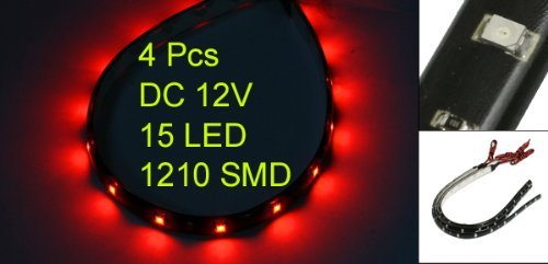 4-strisce-adesive-15-led-flessibile-impermeabile-30cm-rosso