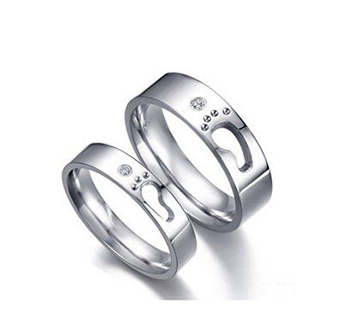 Girlz-Silver-Metal-Titanium-Couple-Matching-Little-Footprints-Love-Wedding-Rings-2-Pieces-For-Men-And-Women