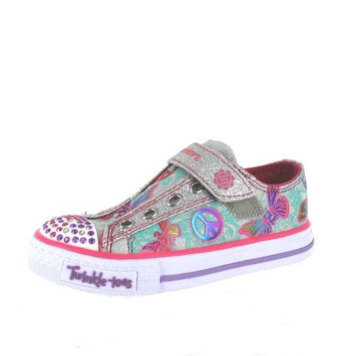 Skechers Shuffles-Glow Girl Silver Multi Infant Girls Sneakers Size 8M front-844151