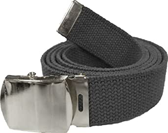 "100% Cotton Military 54"" Web Belt (Black Belt w/ Chrome Buckle)"