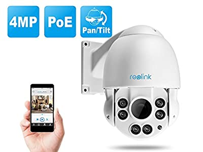 PoE PTZ IP Security Camera, 4-Megapixel HD 4X Varifocal, Day and Night, Indoor and Outdoor Waterproof, High Speed Dome, Motion Detection and Remote Access, ONVIF, Reolink RLC-423