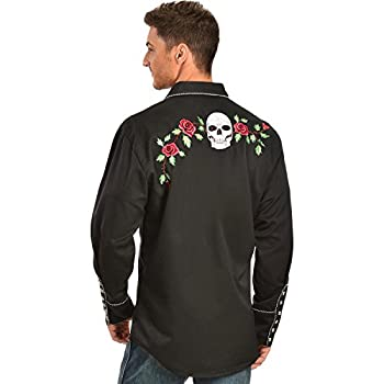 Scully Men's Skull And Roses Embroidered Retro Western Shirt Big - P-771 Blk_X