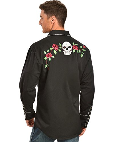 Scully Men's Skull And Roses Embroidered Retro Western Shirt Big - P-771 Blk_X 2