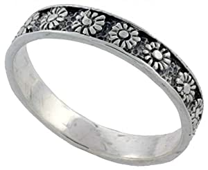 Sterling Silver Thin Flower Wedding Band Ring, size 8