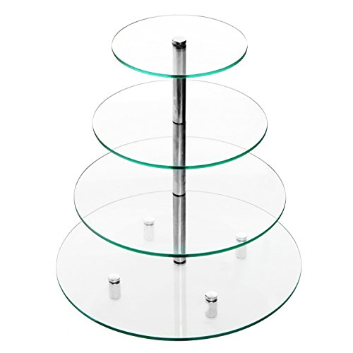 Deluxe 4 Tier Glass & Chrome Round Tabletop Cupcake Stand / Wedding Cake Tower Pastry Display - MyGift® (Glass Pastry Display compare prices)
