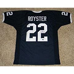 Evan Royster Signed Jersey - Psu #22 Coa - Autographed College Jerseys