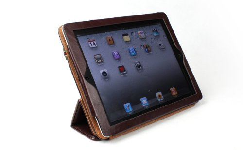 AYL Leather Case with built-in Roll Up Stand and Elastic Strap for Ipad 2 - Brown